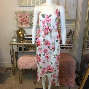 LUSH Rose Floral High Low Maxi Dress Sz Small